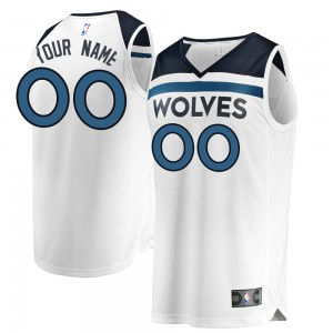 Men's Custom Minnesota Timberwolves Fanatics Branded Swingman White Fast Break Jersey - Association Edition