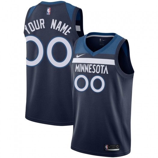 Youth Custom Minnesota Timberwolves Nike Swingman Navy Jersey - Icon Edition