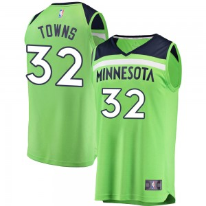 Youth Karl-Anthony Towns Minnesota Timberwolves Fanatics Branded Swingman Green Fast Break Jersey - Statement Edition
